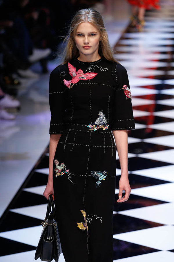 Milan, IT - - A model walks the runway at the Dolce n Gabbana Fall/Winter 2016 fashion show during Milan Fashion Week.